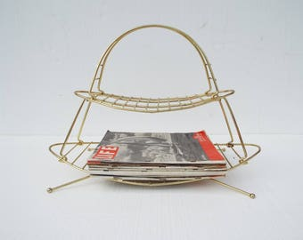Mid Century Modern Atomic Brass Metal Portable Magazine Rack Shelves