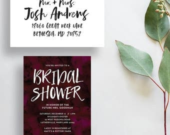 watercolor bridal shower invitations // eggplant bridal shower invite // wine watercolor invite // deep purple // PRINTED invites // custom
