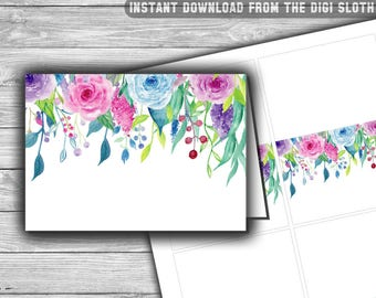Floral - Baby Shower - Food Tents - Place Cards - Labels - Printable - Instant Download - Purple - Pink - Blue - Buffet Labels - 051