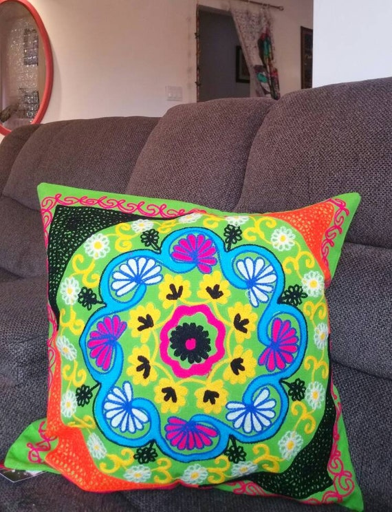 Suzani pillow cover, Boho couch cushion, boho accent pillow, xmas gift for her, couch pillow, Gypsy pillow, Bohemian patio, patio decor