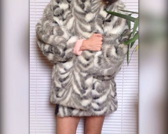 Coat vintage 80 s faux fur grey imitation Silver Fox (40)