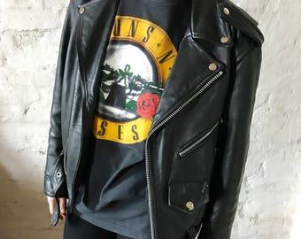 Vintage Guns N' Roses Was Here Tee / T-shirt / Shirt / Rock / Black / 1987 / Medium / Large / 80's