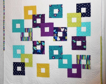 The Mod Squad Quilt - modern, geometric and colorful throw or wall hanging