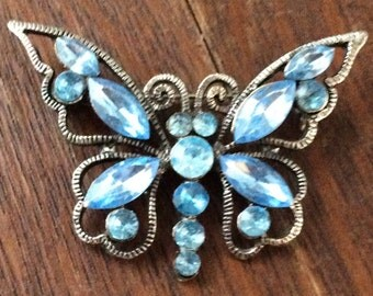 Vintage Butterfly Pin Brooch blue  Rhinestones  Antiqued Silver Tone