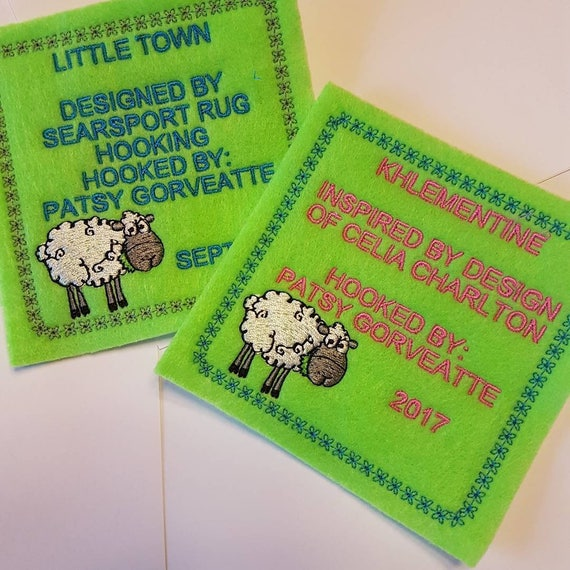 """Personalized Hooked Rug Labels Custom Rug Hooking 4"""" X 4"""