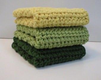 "Handmade Crochet Cotton Dishcloths or Washcloths 3-Pk, 1 each: Jalapeno Green, Honeydew Green, Yellow, 7-1/2"" (Dishcloths-5583)"