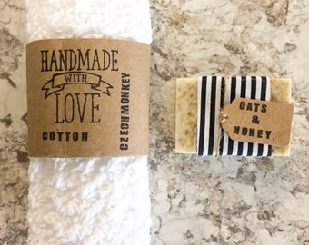 Crochet Washcloth l organic cotton  l oatmeal soap