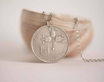 Israel Coin Necklace in Silver Tone. 1 Lira, Israeli Coin. Handmade, 1967-1980