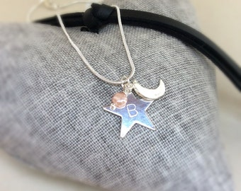 Moon and stars necklace,  personalised necklace, valentine necklace, star charm, love you to the moon and stars, personalised jewellery