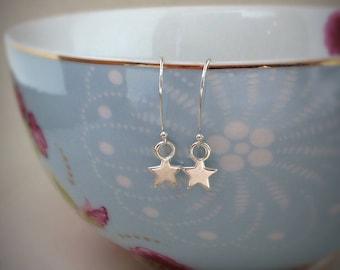 Silver star earrings, star earrings, star charms, stars jewellery