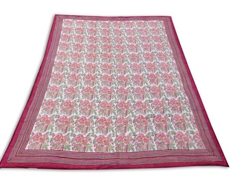 "Double Bed Hand Block Printed Pink Color Quilt in Floral Design Size 90x108"" Inch"