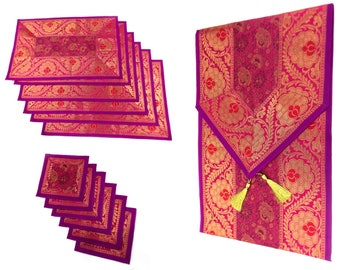 Pink Color Handmade Indian Silk Brocade Table Runner with Placemats and Coasters in Size 16x62 Inches