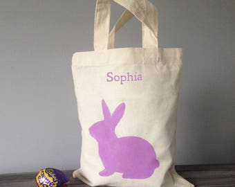 Personalised easter etsy bunny mini tote bag 100 cotton canvas personalised easter basket hand painted negle Image collections