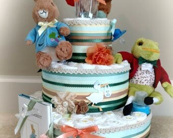 Peter Rabbit Diaper Cake, peter rabbit baby shower, diaper cake, rabbit cake, Peter rabbit characters and Book, 3 Tier
