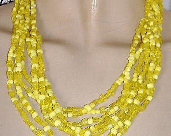 1950S   coloured necklace MULTI stranded summery