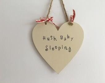 Nursery door hanger handmade wooden gift plaque