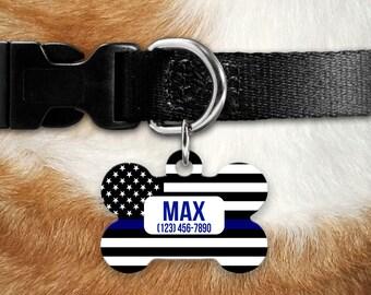 Thin Blue Line Dog ID Tag - Pet Collar Tag, Pet ID Tag, Police Officer Dog ID Tag