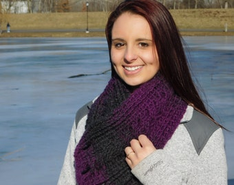 Purple and Charcoal Cowl/Scarf