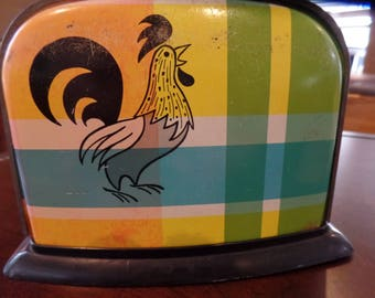 VTG Metal Rooster Tin Toy Toaster