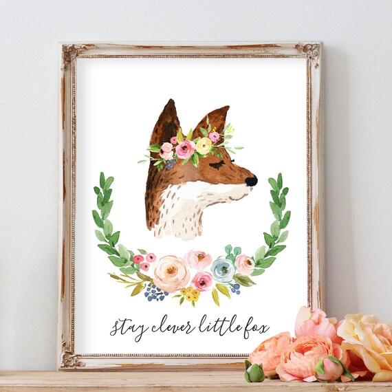 Stay Clever Little Fox, Woodland Nursery with Flowers, Girl Nursery Ideas, Fox Nursery Art, Fox Print, Nursery Animals, Animal Nursery Art
