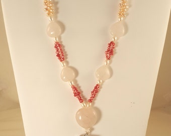 Cherry and Rose Quartz on Freshwater Pearl Necklace