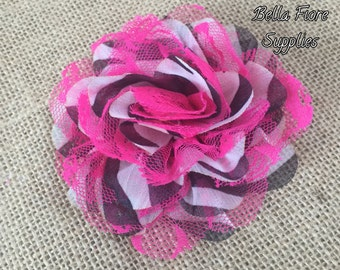 Zebra Stripe Hot Pink Chiffon Lace Flowers, 3.75 inch, Chiffon Lace Flowers, Lace Flower, Wholesale Chiffon Flower- Valentines Flower