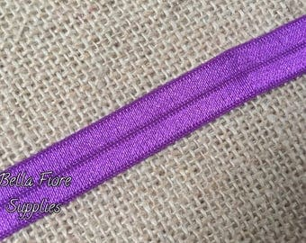 Purple Fold Over Elastic- Purple FOE- Purple Elastic- 5/8 Inch Elastic- Wholesale- DIY Headband- Elastic by the Yard