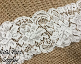 Off White Stretch Lace Trim- Light Ivory Stretch Lace- 3 Inch- Lace Trim- Wide Stretch Lace- Wholesale Lace- DIY Headband- Lace by the Yard