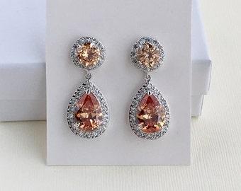 Champagne Wedding Crystal Earrings Champagne Bridal Cubic Zirconia Jewelry Peach Crystal Teardrop Rhodium Halo Earrings Bridesmaid Jewelry