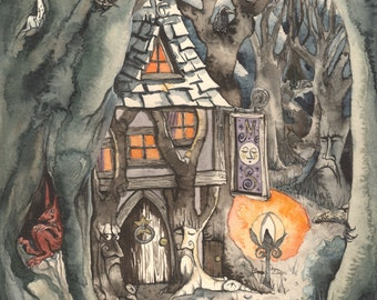 The Majickal Stores - 28cm square, Archival Print from 'Upon a Tzorkly Moon' - Magical shop and Landscape