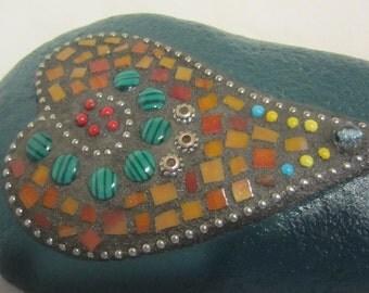 Teal Mosaic Garden Rock - Paperweight