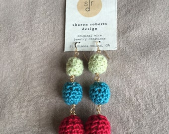 Fun Festive Crocheted Thread Bead Stack Earring in Lime Green, Turquoise Blue and Red