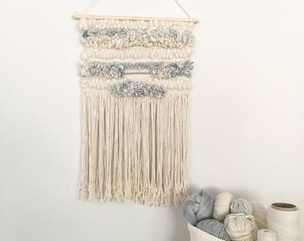 Light Blue and Cream Wall Hanging Weaving Tapestry