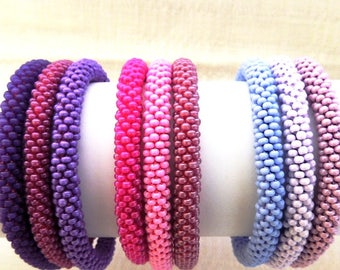 Roll on Bracelets- SET of 3 Stretched handmade Glass Seed Beads Bracelets -Lilac, Violet, Purple Dreams-Crochet Rope Bracelet-Beaded Bangle