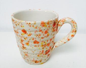 Hand glazed ridge mugs - freckled