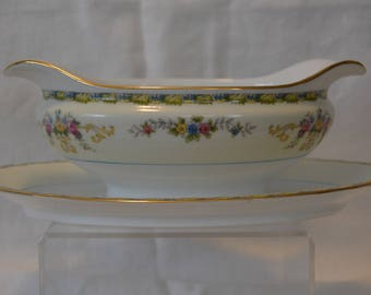 Noritake M China Gravy Boat with Attached Underplate, Multi-Color Floral - Vintage #4141