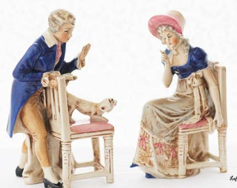 Sweet Victorian Couple figurine,man and woman,  little dog, lovely Victorian clothes, marked Germany, 1960s