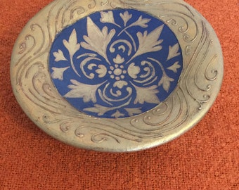 Vintage Hand-Made, Hand-Painted Heavy Ceramic Bowl, Made in France