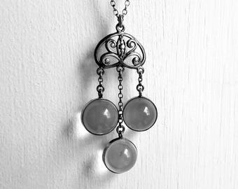 Antique Art Nouveau Pools of Light Rock Crystal Orb Pendant Necklace in Silver - Ideal Bridal Jewellery / Wedding Gift
