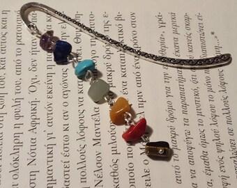 Tibetan silver stones bookmark