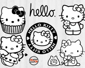 Hello Kitty SVG, Hello Kitty Cut file, svg files for silhouette cameo, cricut explore, dxf file, Hello Kitty Transfer, Instant Download