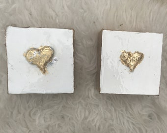 4x4 gold leaf heart