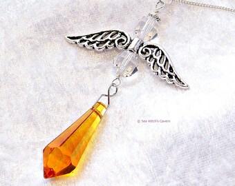 Guardian Angel Ornament Suncatcher. Spiritual Gift. Swarovski Suncatcher Crystal. Topaz November Birthstone. Window Suncatcher Prism. A0397t