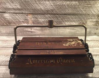 """Bissel Vacuum, American Queen Vacuum, 1800s Vacuum Cleaner, Bissel Vacuum, Antique Vacuum, """"CYCO"""" Ball Bearing, Victorian Vacuum"""
