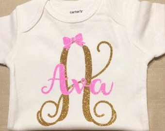 Baby Girl Clothes-Baby Shower Gift-Baby Girl Clothes-Monogram Baby Cothes-Baby Name Shirt-Cute Baby Clothes-Baby Coming Home-Baby Girl