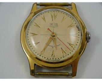 Vintage Gub glashutte mens watch 34mm without the crown gold plated with a steel back running fine east german made