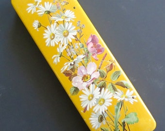 Wooden yellow box with decoupage and hand painted flowers, mid Century, craquelé