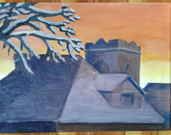 Winter sunset, original oil painting, landscape, 12 by 16 inches