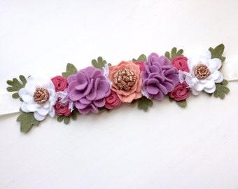Felt flower crown with green leaves headband - carnation pink, lavender, raspberry, white, glitter gold with green leaves