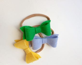 Set of three Susan bows - apple green, bright yellow, dew drop blue - headband - clip - hair bow